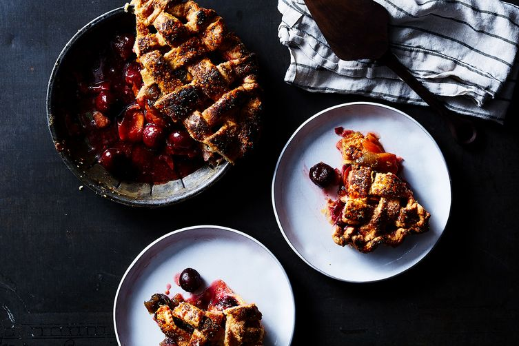 Peach, Cherry, and Mint Pie  (Julia Gartland - Food52)
