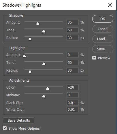 Photoshop CC's Shadows/Highlights settings