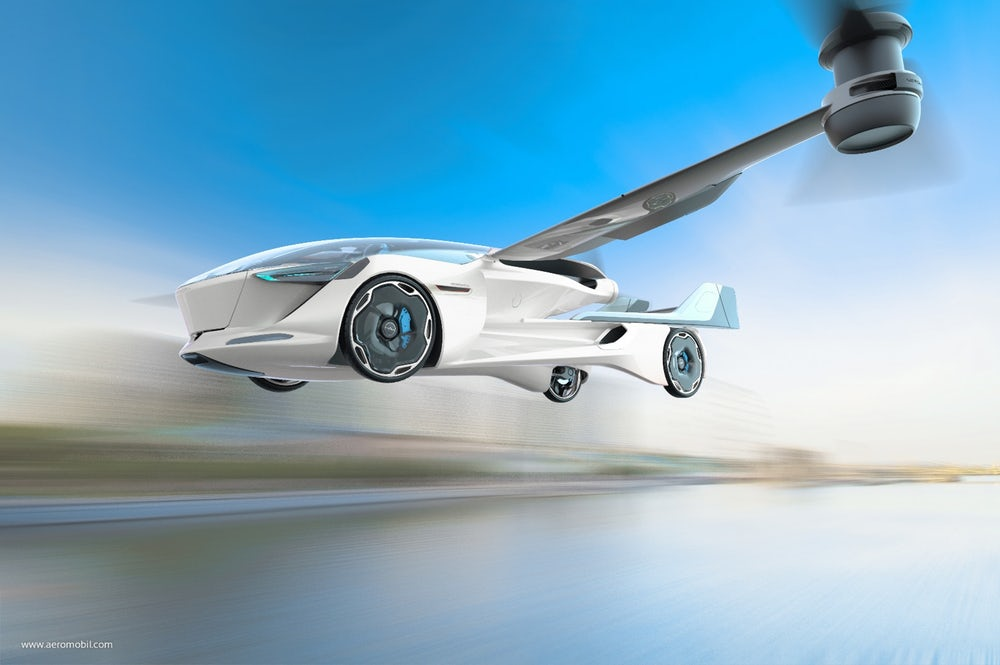 An illustration of the AeroMobil 5.0 VTOL in flight(Credit: AeroMobil)