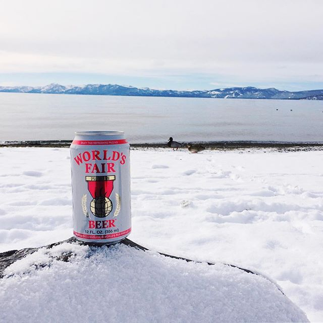 Beer + Lake. Perfect combo even when there's snow everywhere. #laketahoe