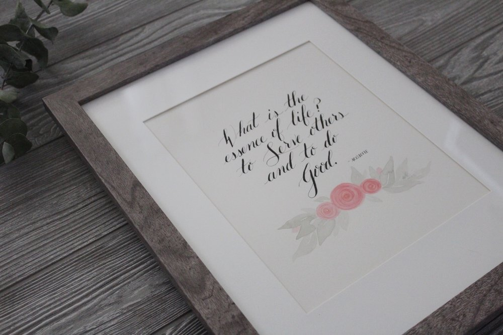 inspirational quote calligraphy handlettering watercolor