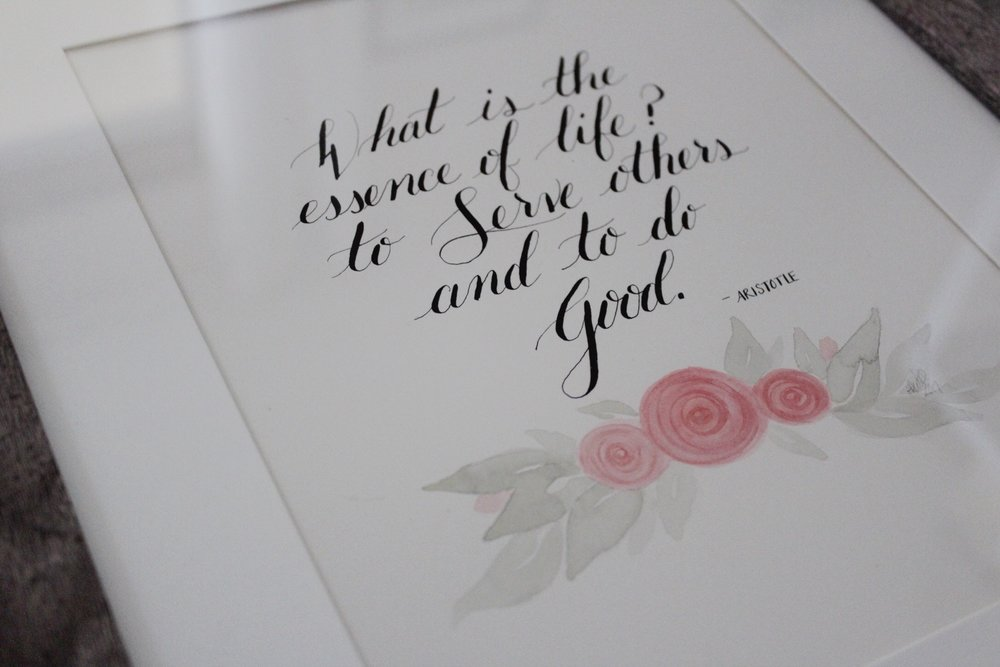 inspirational calligraphy handlettering dip pen watercolor
