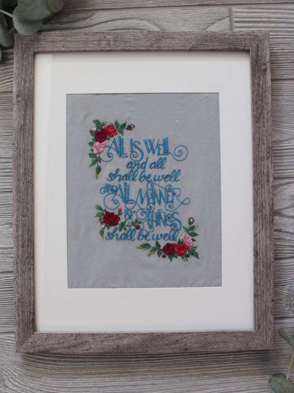 hand lettering embroidery home decor