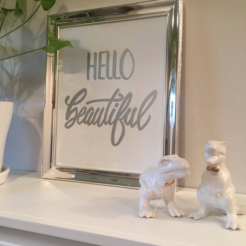 hand lettering bathroom art home decor