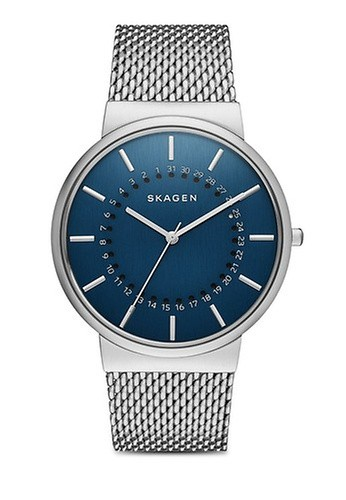 Skagen blue and silver Silver Steel/Blue Skagen Ancher