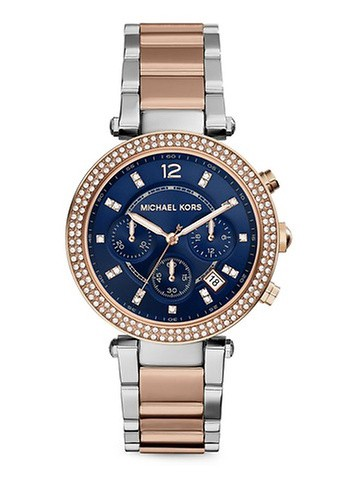 MICHAEL KORS silver and gold 2T Silver/Rose/Blue-MICHAEL KORS Parker