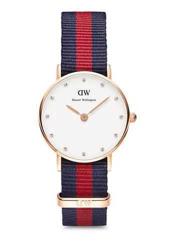 Daniel Wellington red and multi and navy Classy Oxford Watch