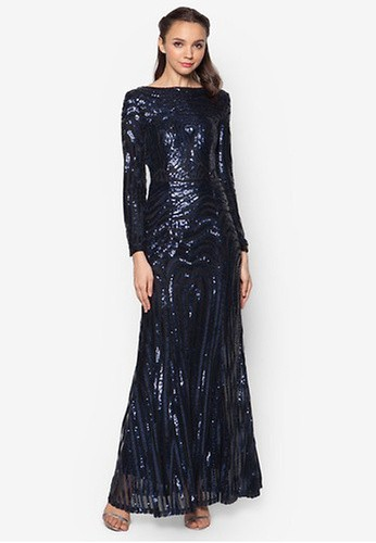 Zalia navy Sequin Mermaid Dress