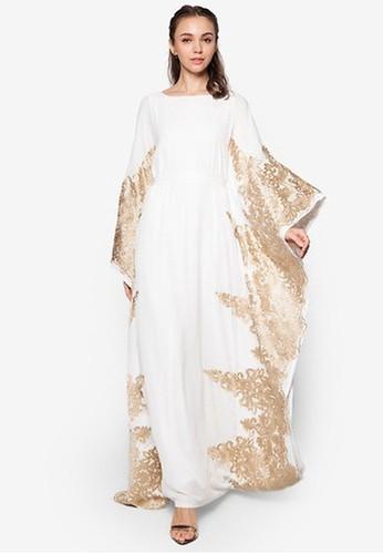 Zalia white and gold Lace Piece Kaftan