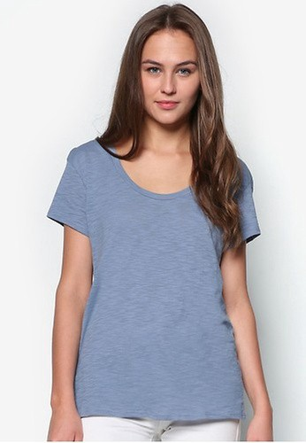 Mango blue Flecked Cotton-Blend T-Shirt