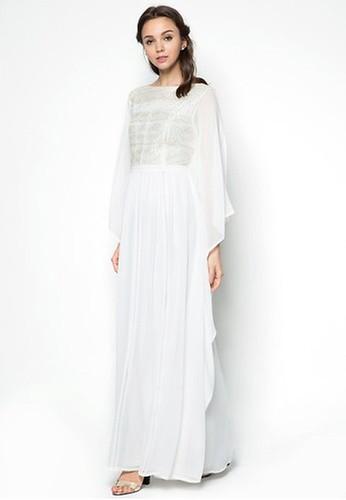 Zalia white Lace Pieced Kaftan Dress