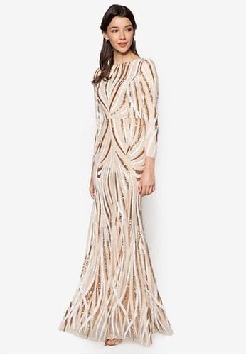 Zalia gold and beige Sequin Mermaid Dress