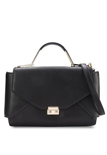 Something Borrowed black Top Handle Hardware Lady Bag