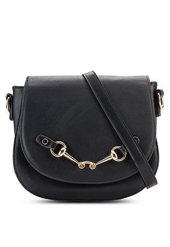 Something Borrowed black Twist Lock Saddle Bag
