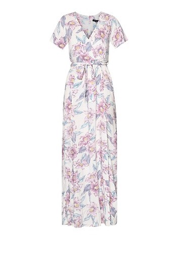 New Look White Floral Print Tie Waist Maxi Dress