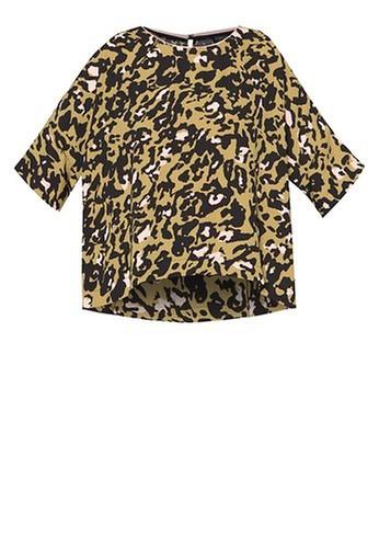 TOPSHOP Leopard Print Cold Shoulder Tee