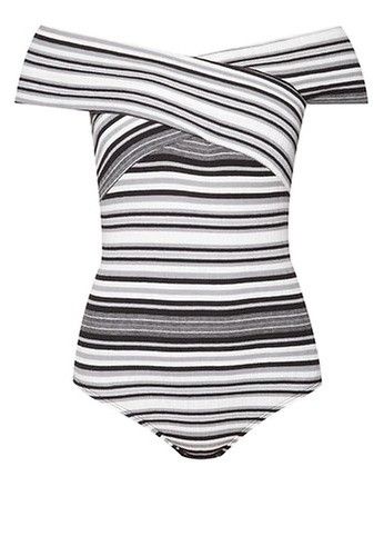 Miss Selfridge Stripe Bardot Neck Bodysuit
