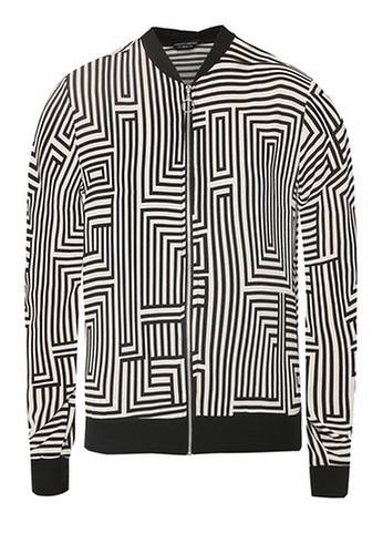 Dorothy Perkins Mono Geometric Print Bomber Jacket