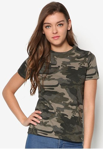 RIVER ISLAND green Khaki Camo Print Fitted T-Shirt