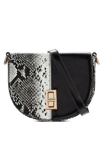Something Borrowed black Halfmoon Turnlock Crossbody Bag