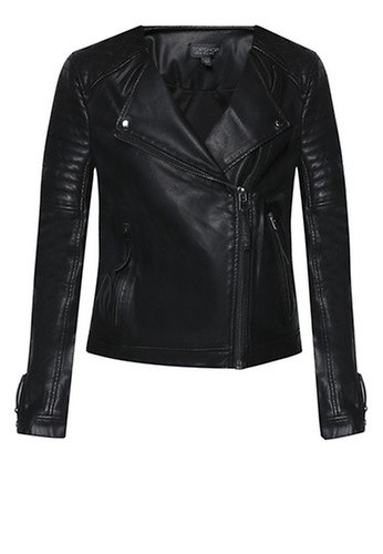 TOPSHOP Quilted Faux-Leather Biker