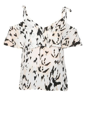 Dorothy Perkins Animal Print Cold Shoulder Top