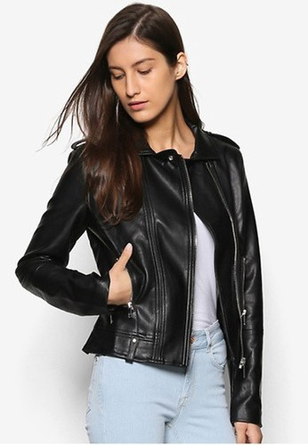Mango black Zipped Biker Jacket