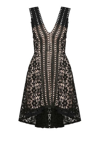INDIKAH Hi-Lo Hem Lace Dress