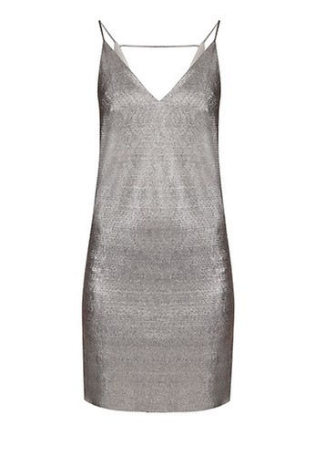 RIVER ISLAND Gold Metallic Strap Back Cami Dress