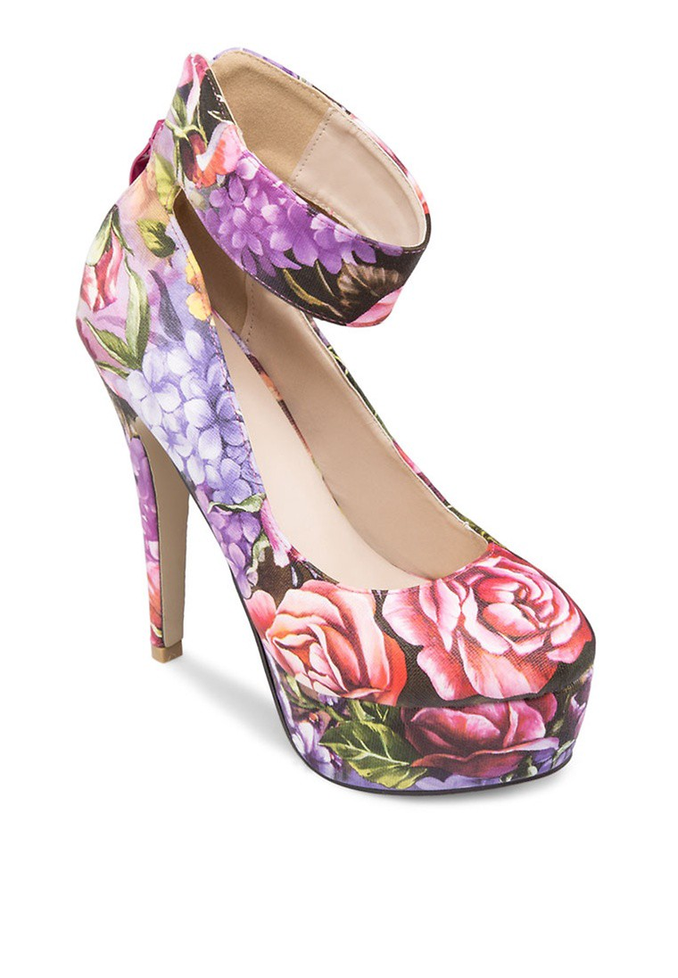 Floral Printed Platform Heels with Thick Ankle Strap