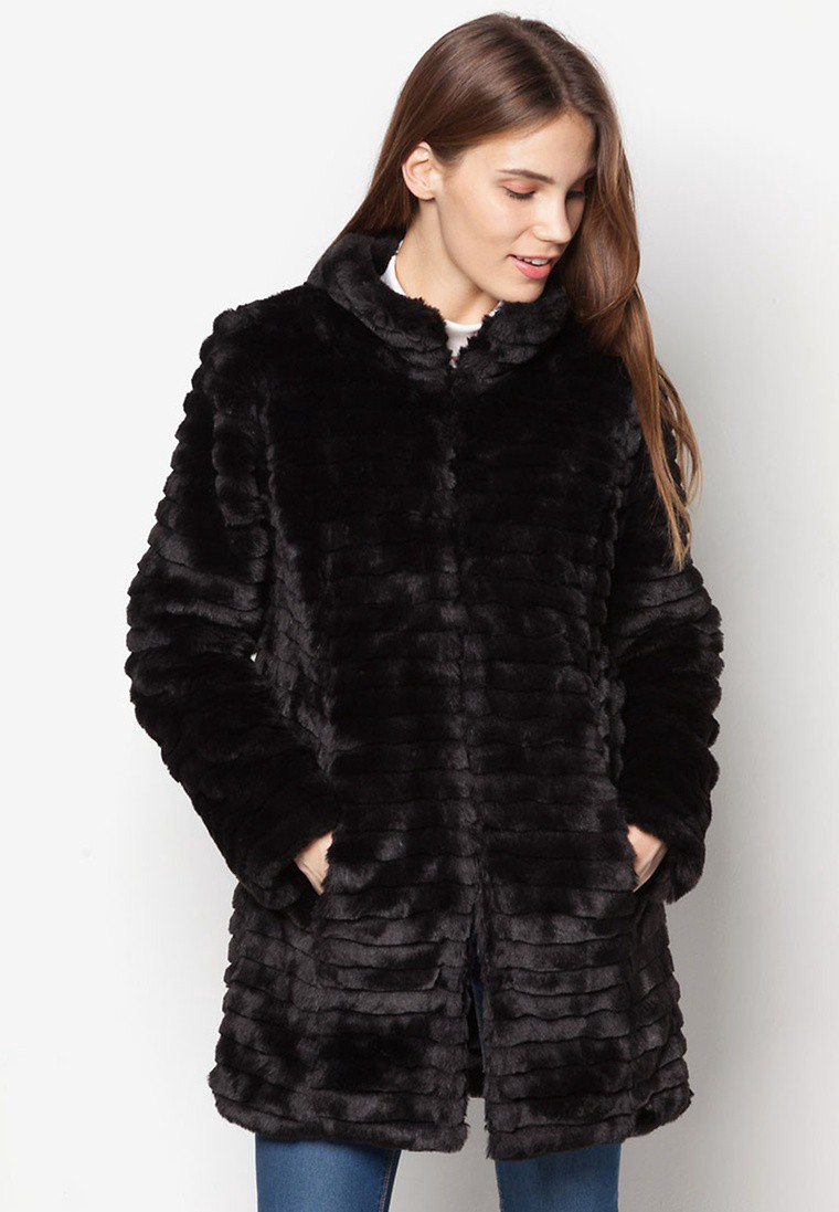 Funnel Neck Faux Fur