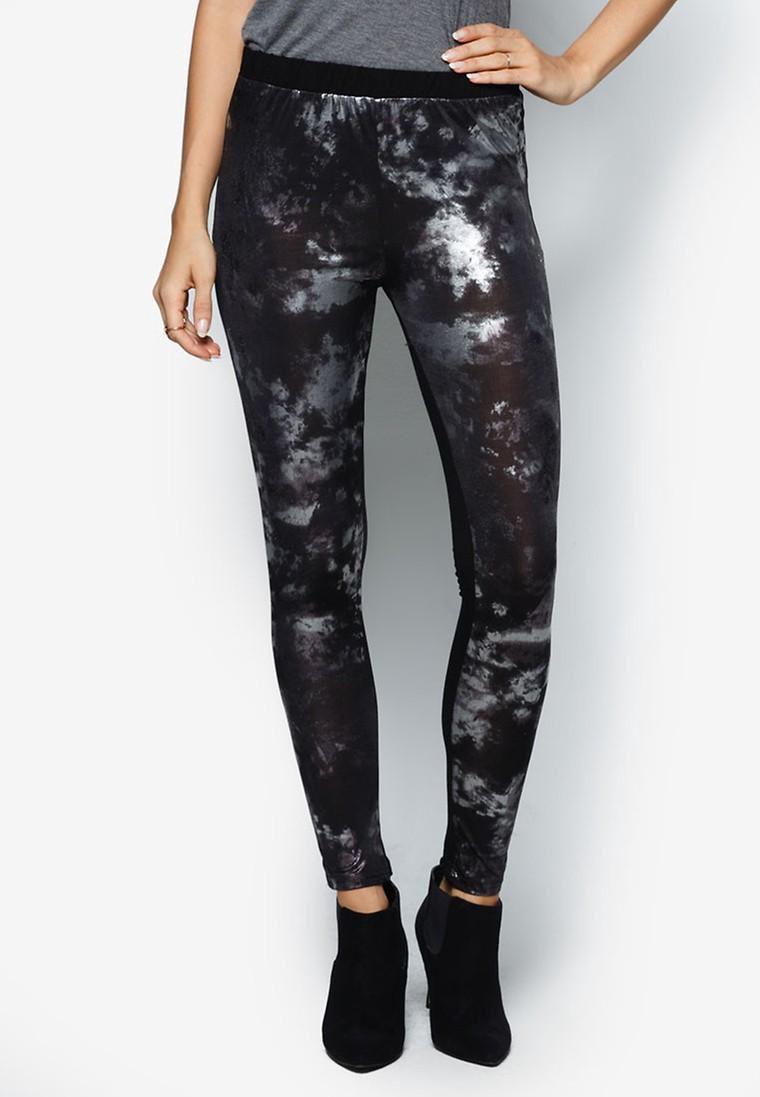 Galaxy Printed Pleather Leggings