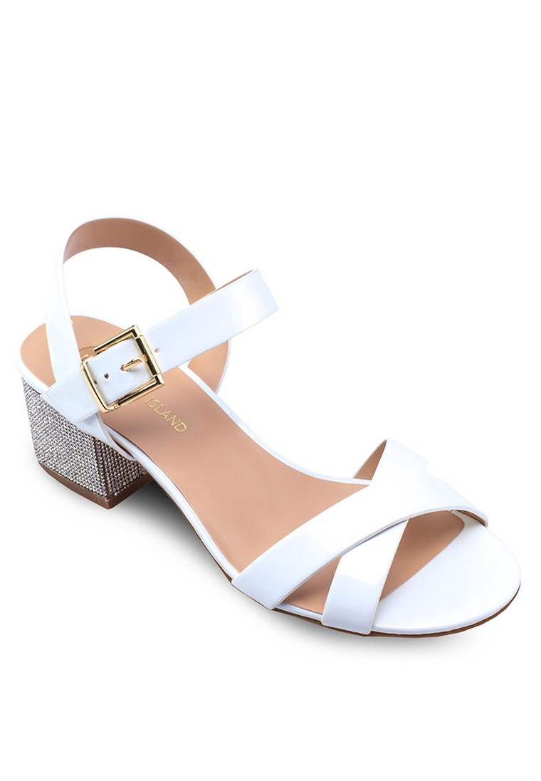 Leather Diamante Block Heel Sandals