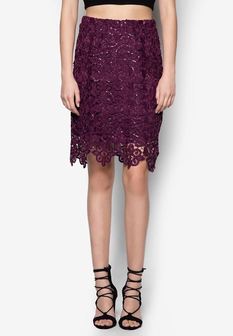 Petite Purple Sequin Skirt