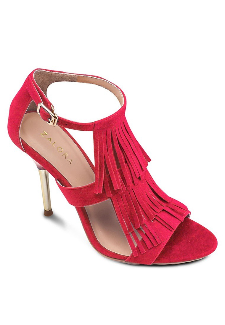 Fringed Heel Sandals