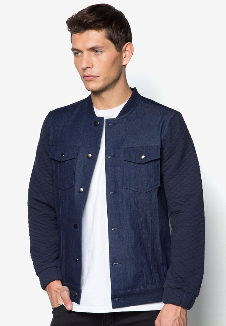Denim/ Terry Bomber Jacket