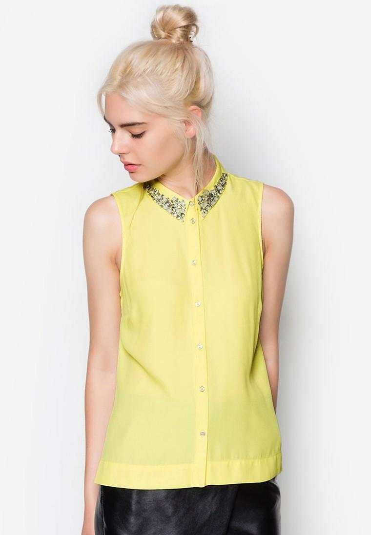 Sleeveless Embellished Collar Shirt