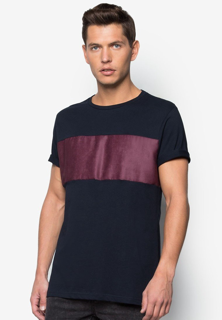 Faux Suede Panel T-Shirt