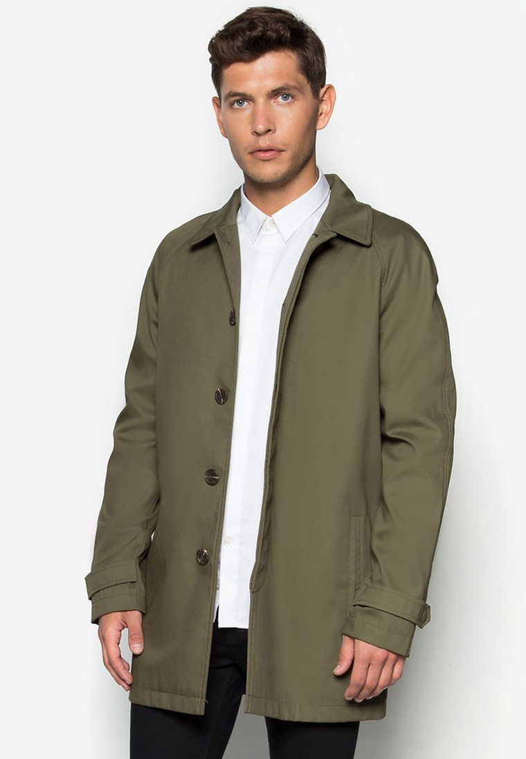 Khaki Single Breasted Mac