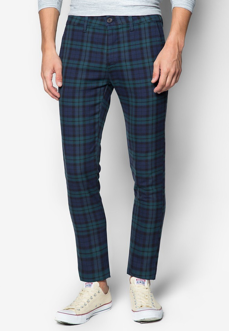 Blue Teal Check Stretch Skinny Chinos