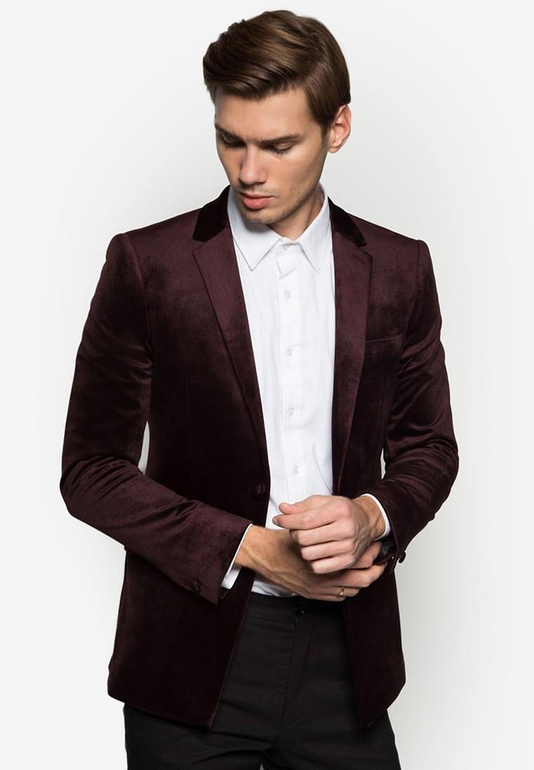 Burgundy Velvet Skinny Fit Blazer