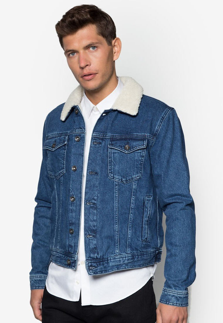 Mid Wash Borg Denim Jacket