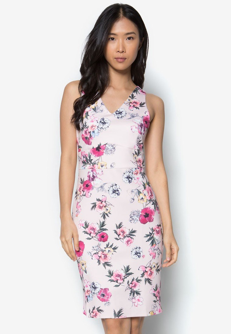 Collection Printed Bodycon Scuba Dress