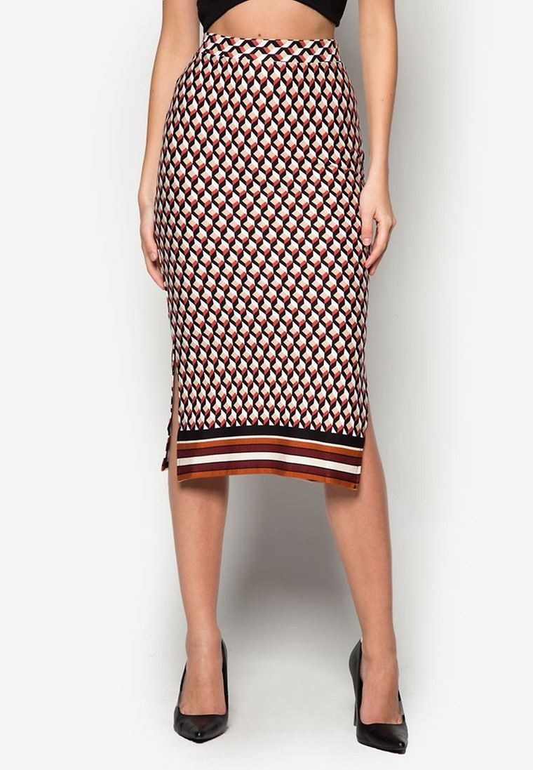 Geo Border Printed Tube Skirt