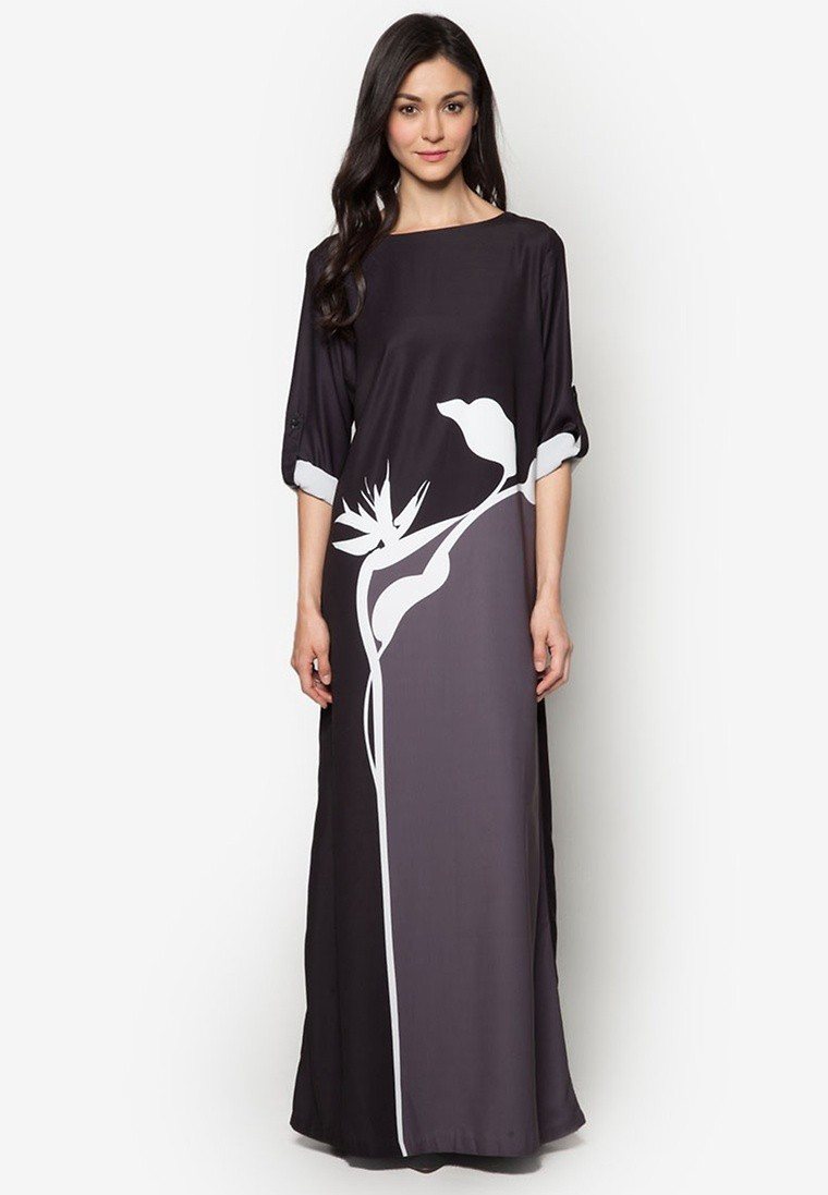 Block Silhouette Print Dress