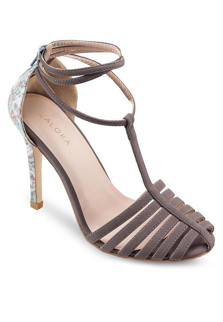 Floral T-Strap Heel Sandals