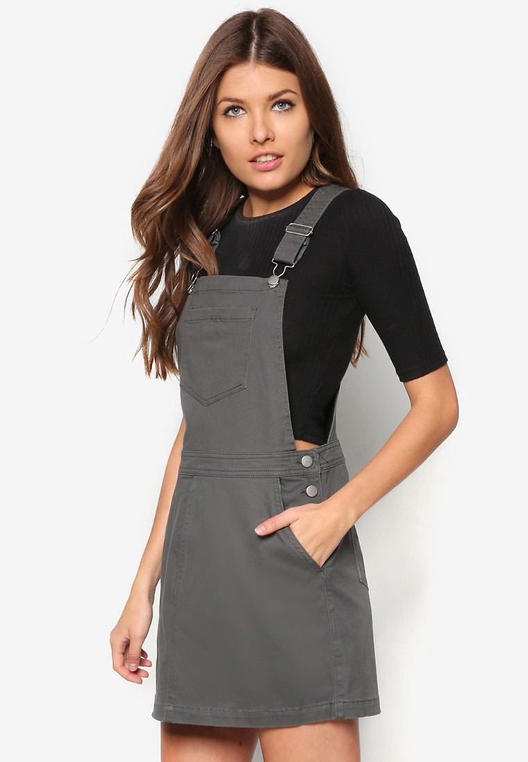Dark Khaki Pinafore Dress