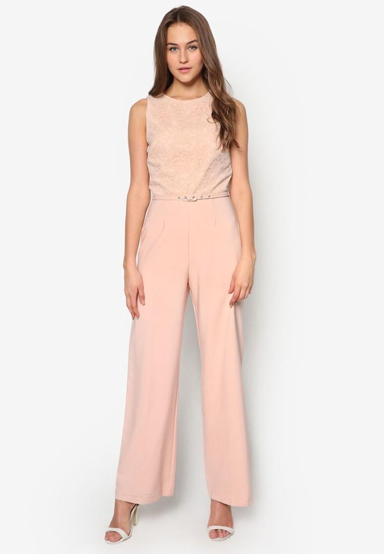 Lace Detail Belted Jumpsuit