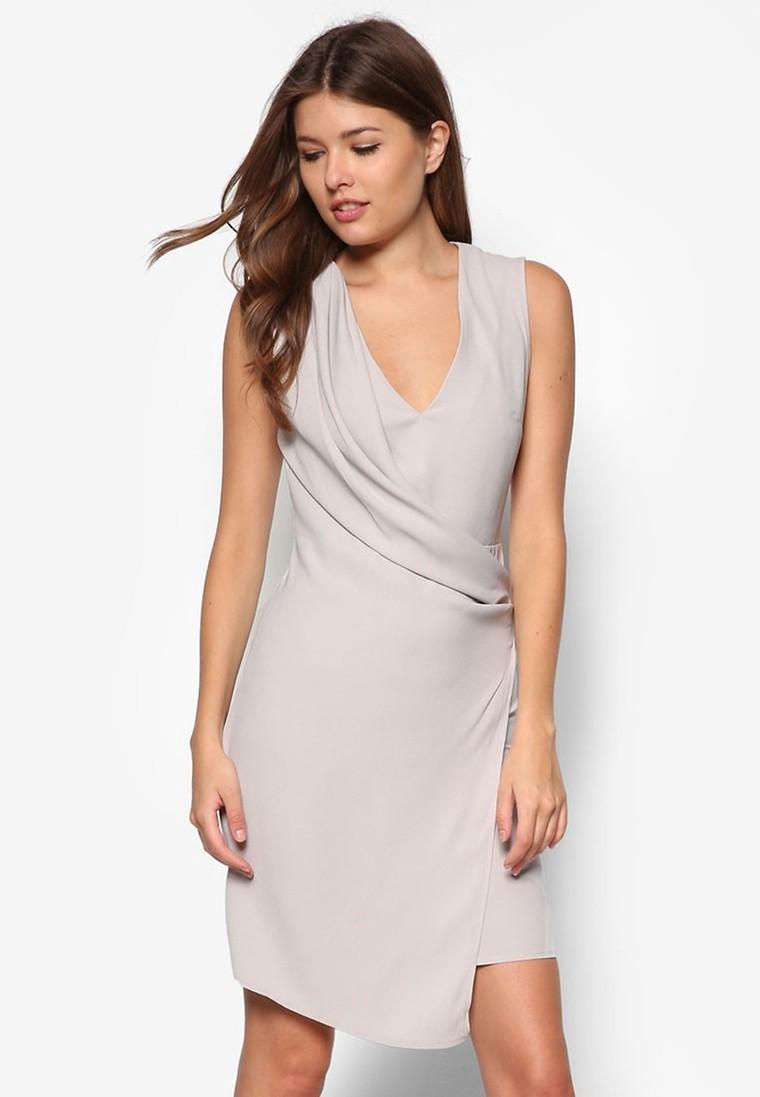 Grey Drape Front Dress