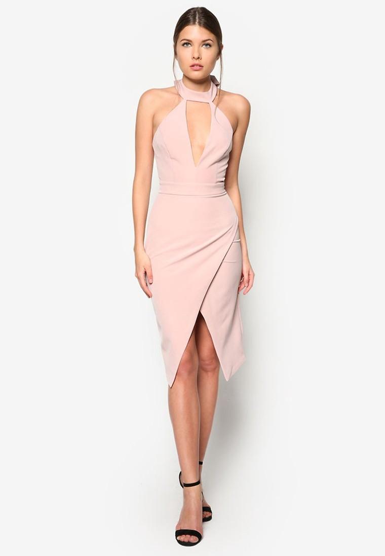 Nude Halter Plunge Dress